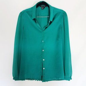 Tracy M Button Down Long Sleeve Pleated Shirt